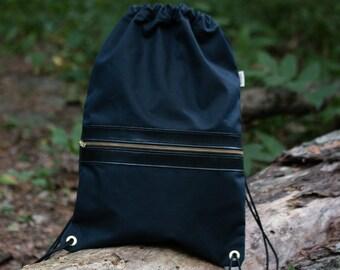 Drawcord Backpack - Waxed Black