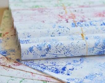 Lot de 2 papiers japonais pour petit emballage cadeau et décoration, imprimés à la main en vert et vert-doré