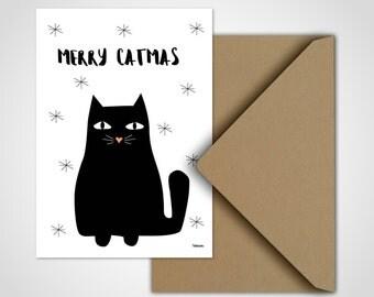 3 x Weihnachtskarten / Merry Catmas,  Grußkarten, Karten, Katze, Weihnachten, Tannenbaum, Glückwunsch, Frohes Fest, witzig, Schnee, Sterne