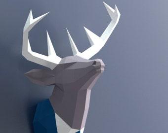 Tête de cerf de papercraft, pour fabriquer votre propre trophée, trophée de papier, Pdf Papercraft, tête de cerf, mural tête de cerf, tête d'Animal, cerf en costume de papier