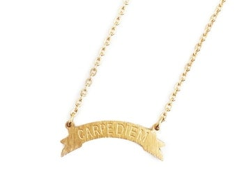 Carpe Diem Neckle, Inspirational Jewelry, Best Friend Gift, Charm Necklace, Boho Necklace, Gold Plated Necklace