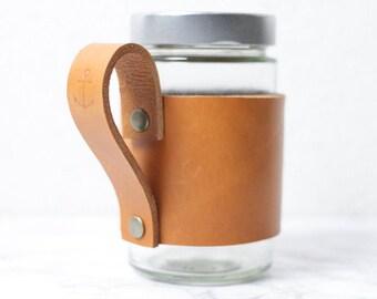 Coffee-to-go Leder Tassenmanschette Anker maritim Upcycling Ledermanschette Kaffeebecher handmade