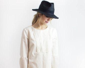 Lina Linen Boho Tunic Dress / LINEN Sophisticated bohemian cream dress - Sustainable Ethical fashion