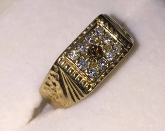 An Art-Deco Gold and Diamond Mens Signet ring