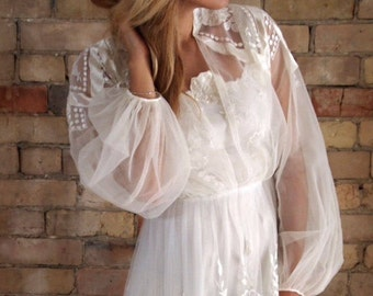 vintage 70s WHIMSICAL WEDDING gown
