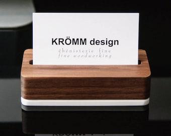 Wood Single Business Card Stand / Walnut Wood and Acrylic Business Card Display / Solid Wood Business Card Holder