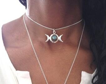 Silver Choker/ Silver Choker Necklace/ Labradorite Choker/ Moonstone Choker/ Triple Moon Goddess Necklace/ LABRADORITE OR MOONSTONE