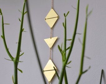 Brass wall hanging -  handmade wall décor - triangle wall decor housewarming gift wall hanging dorm decor