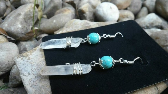 Turquoise Sterling Silver Earrings with Lemurian Quartz