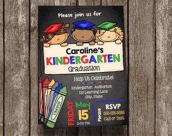 Kindergarten Graduation Invitation - Announcement - Chalkboard - Custom - Printable - School