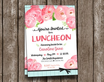 Luncheon Invitation - Watercolor Floral - Printable - Custom - Bridal - Baby Shower - Teal and Pink - Flowers - Invitation - Shabby