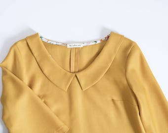 A line dress - 60s dress - Mustard yellow dress -Tunic dress -Light wool dress -Vintage inspired dress -Collared dress - Loose dress
