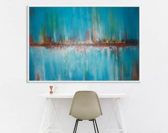 """Turquoise Blue acrylic Painting 72"""" Amazing Abstract Painting on canvas, Hand Made and 100% Original, Fast Shiping , By SoG"""