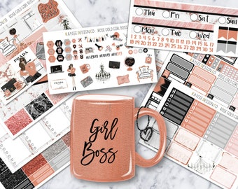ULTIMATE Weekly Kit / Rose Gold Girl Boss / Planner Stickers / Fits Erin Condren Vertical & MAMBI / Hand Drawn /