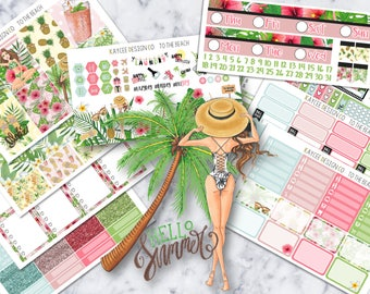 ULTIMATE Weekly Kit / To The Beach / Planner Stickers / Fits Erin Condren Vertical & MAMBI / Hand Drawn / Beach Theme / Watecolor