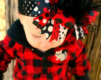 Red And Black Over The Top Boutique Hairbow Headband Ostrich Feather