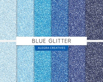 Blue Glitter digital paper, glitter textures, shades, light blue, blue, navy, scrapbook papers (Instant Download)