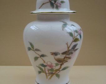 Vintage Oriental ginger jar, bird on a branch, Yamaji bone china, Japan