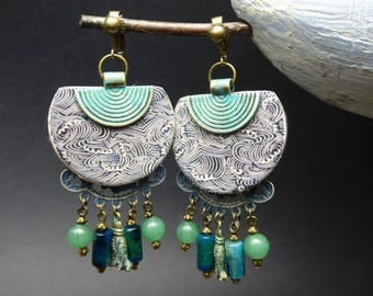 Earrings clip ethnic-Asian - fabric vague Japanese