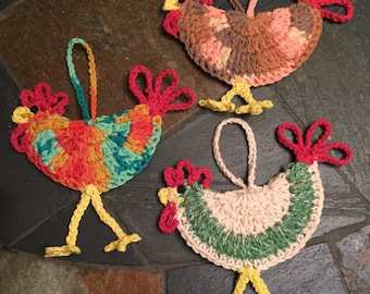 Rooster ornaments crocheted set of 3, Hen ornaments crocheted set of 3, Chicken ornaments crocheted set of 3.