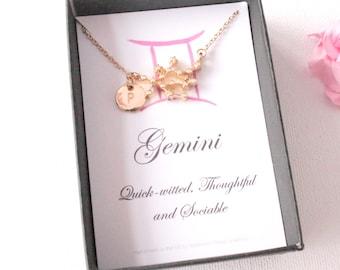 Gold Gemini constellation jewelery, Gemini gift, Gemini pendant, Gemini star sign, Gemini, zodiac sign necklace, astrology necklace