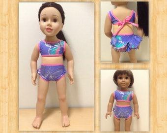 Retro ruffled two piece bikini swimsuit to suit 20 inch Australian Girl Doll or 18 inch American Girl Doll