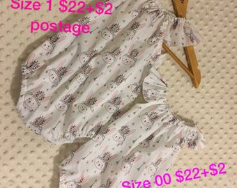 Seaside playsuits sizes vary as per pics