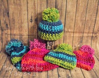 CLEARANCE newborn crochet hat, 6-9 month crochet hat, baby crochet hat, pink crochet hat, blue crochet hat