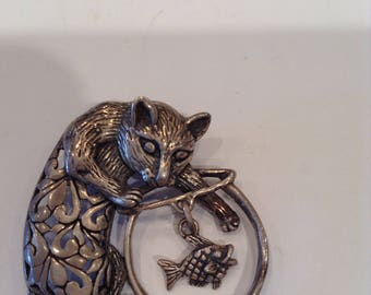 Wonderful Sterling Silver Jezlaine Cat Brooch Kitty Fishing in Fishbowl - Fish Moves