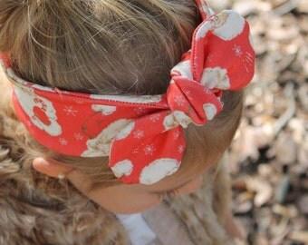 Santa Top Knot- headband, Christmas accessories, christmas top knot, baby headband, toddler headband, girl headband, adult headband