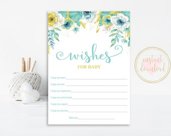 Wishes for Baby Cards, Baby Shower, Printable Wishes for Baby,  INSTANT DOWNLOAD, Baby Shower, Baby Shower Games, White, Mint, Gold