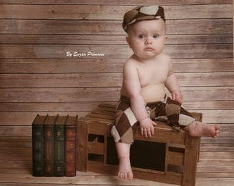Cod B17 Brown baby boy cap,hat and pants ,new born baby outfit, baby photography