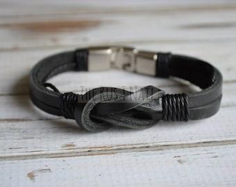 FREE SHIPPING - Black Leather Infiniti Bracelet
