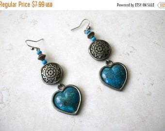 ON SALE Retro 1960s Southwestern Tribal Silver Long Heart Simulated Stones Earrings 31217