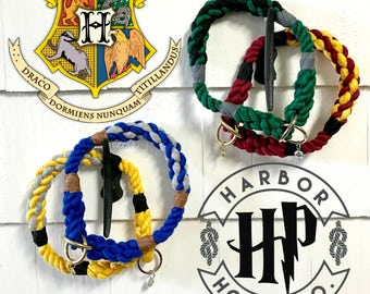 Harry Potter Inspired Hogwarts House color Dog Collar, Slip Collar, Training Collar, Rope Collar, Cotton Collar