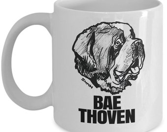 Saint bernard gift // St Bernard lovers gift cup // Funny Bae Thoven // Perfect for St Bernard Fans, Dog Lovers & Pet Owners
