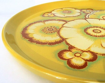 Noritake Japan Primastone Genuine Stoneware Dinner Plate in the Gaiety Pattern - Chartreuse Green/Mustard Colors, #8318 Bright Floral Design