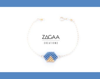 BELLA NOTE bracelet blue and gold Miyuki beads and Gold Filled