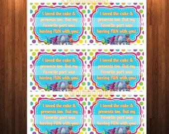 Trolls, Trolls Thank you card,Trolls Birthday Thank you Note, Trolls Party, Pink, Thank you cards, Digital File, Birthday Girl, polka dots
