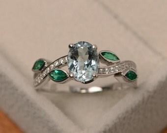 Aquamarine ring, sterling silver, aquamarine engagement ring, natural aquamarine, oval cut blue gemstone ring