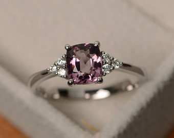 Natural spinel ring, unique pink gemstone ring, sterling silver, cushion cut, engagement ring