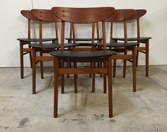 On hold for Cian Stunning set of (6)six farstrup danish mid-century dining chairs - Danish-design