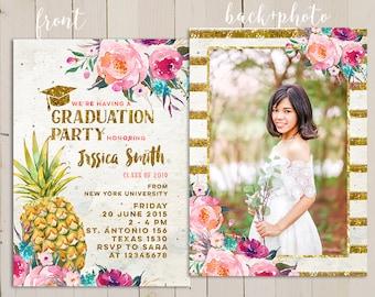 pineapple graduation party invitation, open house graduation, summer graduation party invitation, tropical invitation, graduation nurse