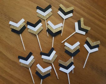 Arrow cupcake toppers, black and gold cupcake toppers, boho party, wild one party, graduation party, white and gold party, tribal party