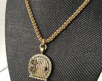 Brass Fairy/Hobbit door wish necklace