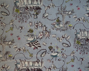 Kei Fabric Japan - Alice In Wonderland - MIYAKO-013 - Color C - Grey - Cotton Linen