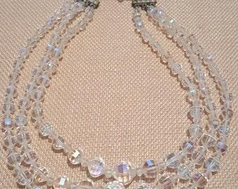 Vintage Arora Borealis 3 Strand Necklace