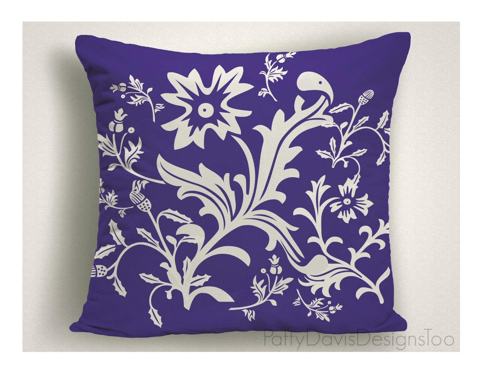 Royal Blue Outdoor Throw Pillow Floral Outdoor Patio Pillows