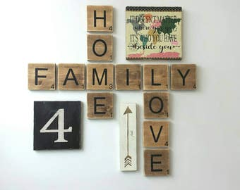 READ SHOP UPDATES Rustic Scrabble Tile Family Home Love Wall Hanging Set.  Scrabble Sign, Family Decor, Love Sign, Family Room Decor