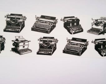 Washi tape black white typewriter
